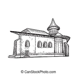 Sketch of  Building. Hand drawn illustration