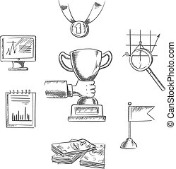 Sketch of business, achievment and success symbols -...