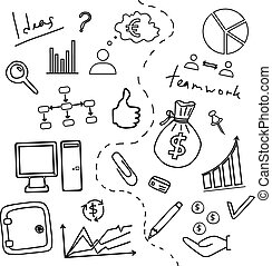 Sketch of business doddle elements