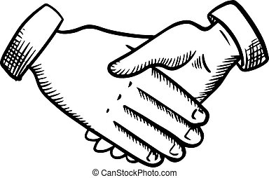 Sketch of business partnership handshake