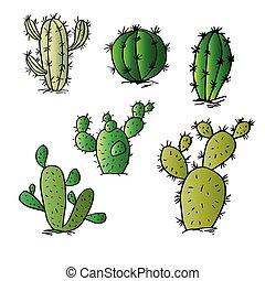 Sketch of cactus set