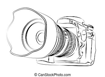 Sketch of camera. - Sketch of an SLR camera.