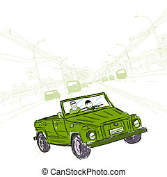 Sketch of  car on the road in city for your design