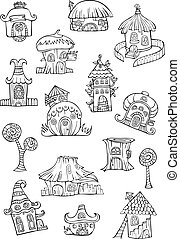 Sketch of cartoon vector houses.