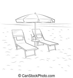Sketch of chaise lounges and umbrella on the beach. Vector illustration.