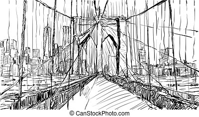 sketch of cityscape in New York show Brooklyn Bridge and...