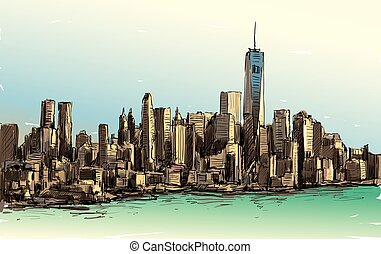 Sketch of cityscape in New York show Manhattan midtown with...