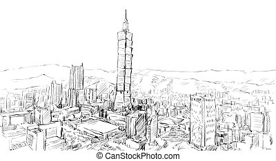 sketch of cityscape show townscape in Taiwan, Taipei ...
