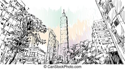 sketch of cityscape show urban street view in Taiwan, Taipei building, illustration vector