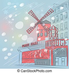 Vector sketch of christmas landscape with cabaret Moulin Rouge in Paris