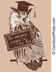 sketch of clever owl on a branch with message board