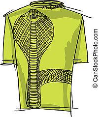Sketch of cobra tee. Vector illustration
