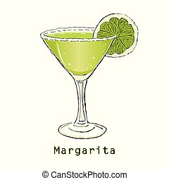 Sketch of cocktail margarita on a white background. Vector illustration.
