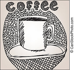 Sketch of Coffee cup. Vector illustration
