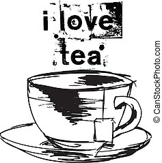 Sketch of Cup of tea with tea bag. Vector illustration