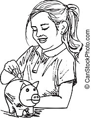 Sketch of cute little girl with piggybank, vector illustration
