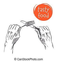 cutlery in hands