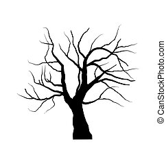 Sketch of dead tree without leaves , isolated on white ...
