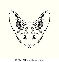 Sketch of desert fennec fox head, portrait of forest animal black and white hand drawn vector Illustration