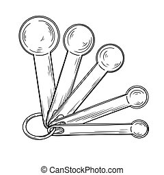 Sketch of different measuring spoons isolated on white background. Vector