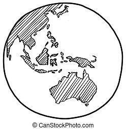 Sketch of earth Australia and Oceania Hand drawn globe icon