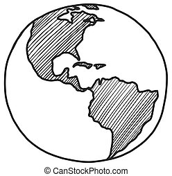 Sketch of earth North and South America Hand drawn globe icon