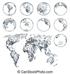 Sketch of earth planet continents. World map