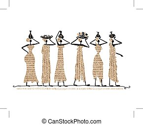 Sketch of egypt women with jugs for your design