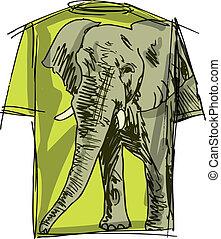 Sketch of elephant tee. Vector illustration
