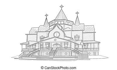 Sketch of Estate of Ded Moroz in Velikiy Ustyug - Terem Deda...