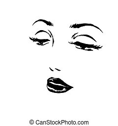 Sketch of face woman close-up