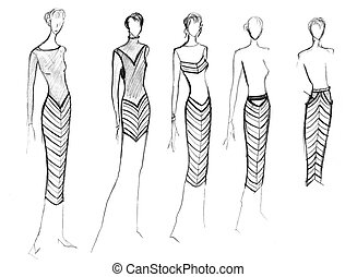 range of clothing with a diagonal stripe - sketch of fashion...