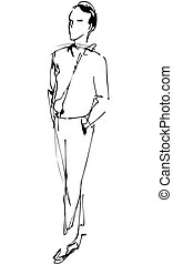 fellow full length hand in the pockets - sketch of fellow...