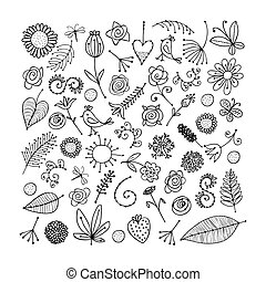 Sketch of floral elements for your design