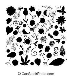 Sketch of floral elements for your design