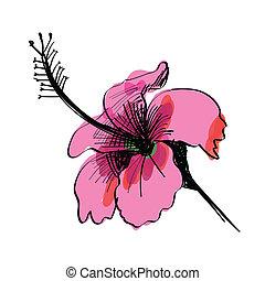 Sketch of flower hand drawn