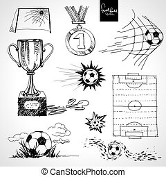 Sketch of football elements
