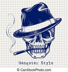 Sketch of gangster skull