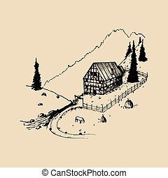 Sketch of german countryside homestead, peasants house in mountains. Vector hand drawn farm landscape illustration.
