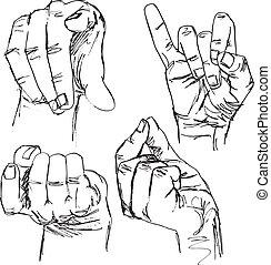 sketch of gestures by hands. vector illustration