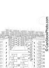 sketch of ghetto and sun in white