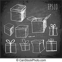 Sketch of gift boxes on chalkboard.