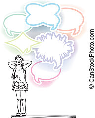 sketch of girl covering ears from loud noise balloons. vector illustration