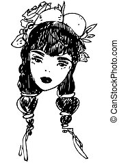 sketch of girl with decoration in hair