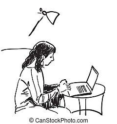 Sketch of girl works using pen tablet, Hand drawn vector illustration