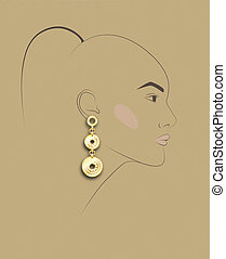 sketch of girl's head with earring, fashion illustration