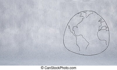 Digitally generated animation of sketch of the world drawn in monochrome against a grey background.
