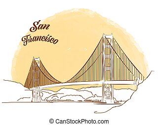 Sketch of Golden Gate Bridge. Hand drawn vector illustration...