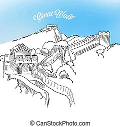 Sketch of Great Wall in China. Hand drawn vector...