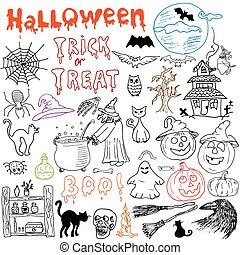 Sketch of halloween design elements